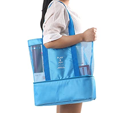 bae2d9518478 Portable Insulated Thermal Picnic Lunch Box Double Layer Shoulder Bag