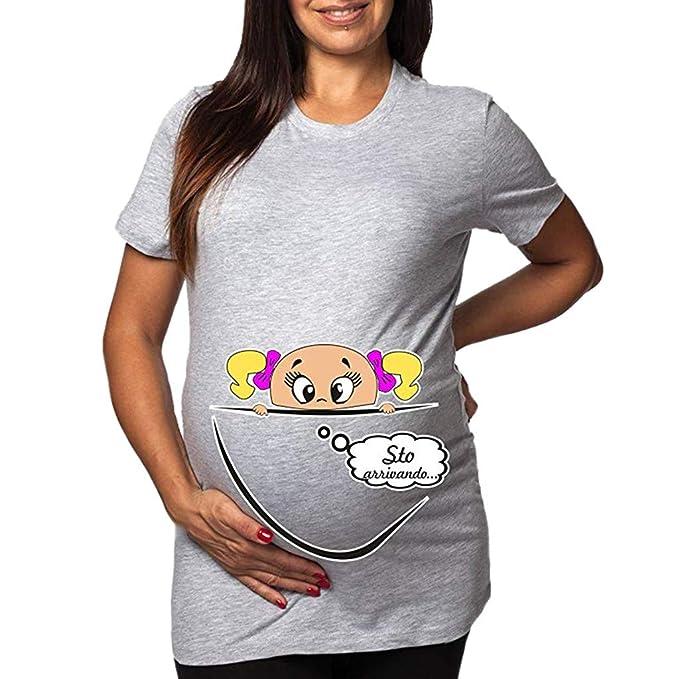 0c8950534 SUNNSEAN Camiseta Ropa premamá Divertida y Adorable