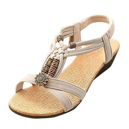 1d9628c073e838 DaoAG - Shoes Womens Wedge Sandals Beaded Sandals Ankle Strap Flip-Flop  Sandles Elastic Strap