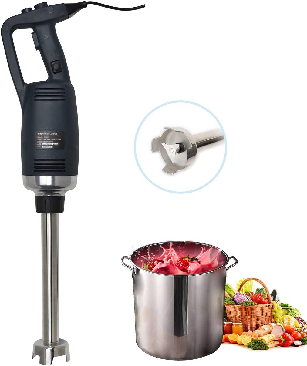 Li Bai Commercial 14'' Immersion Blender 750 Watt Electric Hand Mixer With Detachable Shaft Power 2500rpm to 15000rpm Capacity 304 Stainless Steel Variable Speed