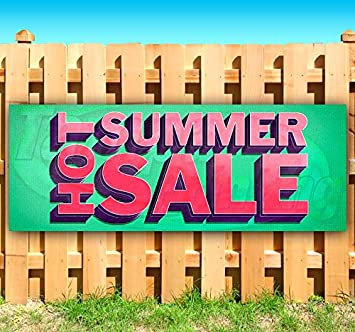 Many Sizes Available Advertising Store New Flag, Summer Sale 13 oz Heavy Duty Vinyl Banner Sign with Metal Grommets