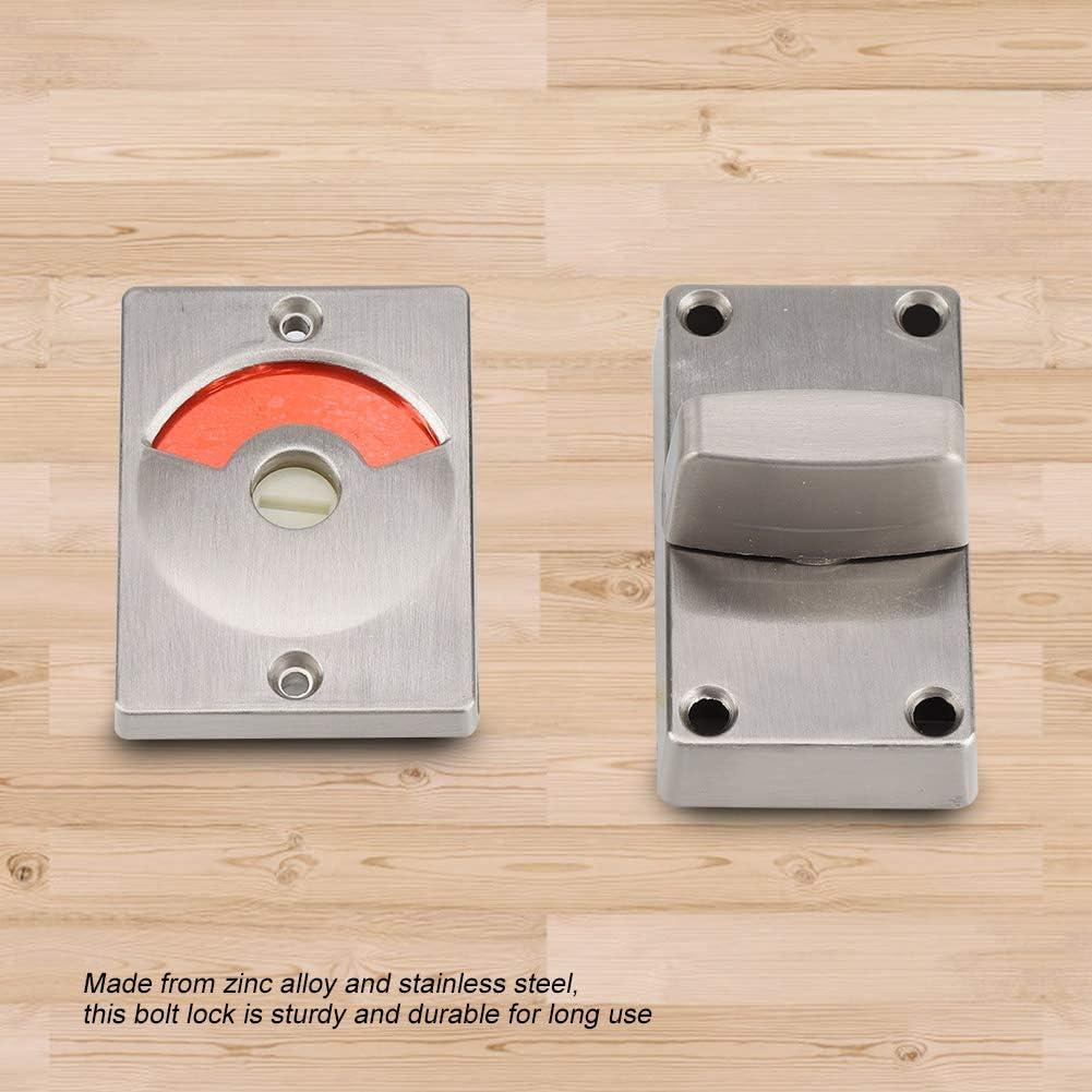 304 Stainless Steel Silver Door Bolt Lock with Vacant Engaged Privacy Indicator /& Screws Bathroom Restroom Toilet Hardware Zinc Alloy Zopsc Toilet Door Lock Indicator