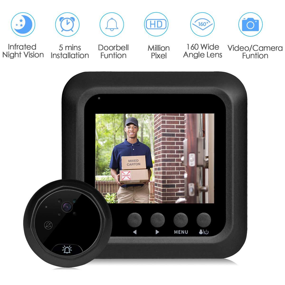 Home Wireless Video Doorbell HD, 2.4inch Peephole Door Bell Camera-160°Wide Angle Lens-Night Vision-NO WiFi/NO APP-Peephole Needed (Doorbell)