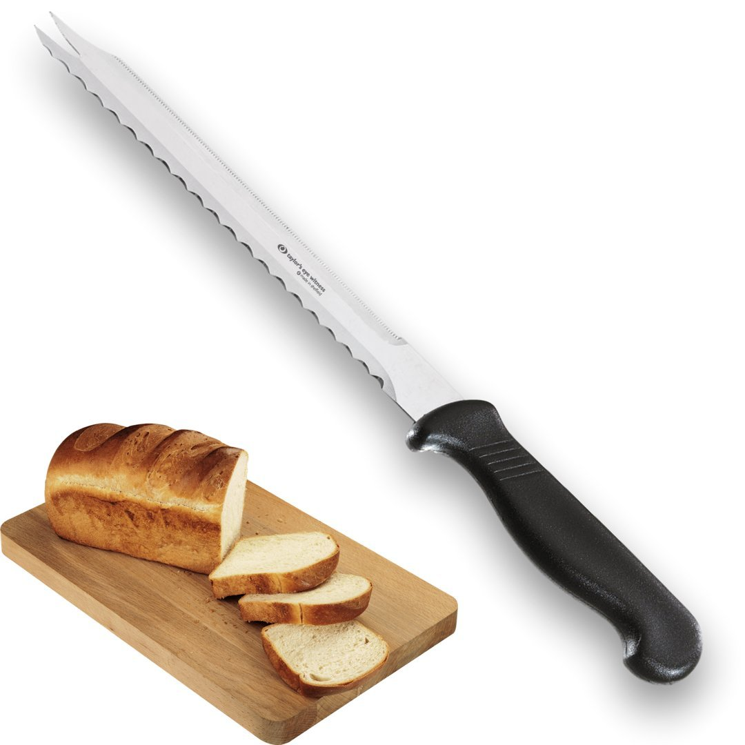 SERRATED BREAD KNIFE/MEAT SLICING KNIFE - 8''/20cm Double Edged Precision Ground Blade With Serving Prongs. Ideal Carving/Roast Knife. UK-Made By Taylors Eye Witness.