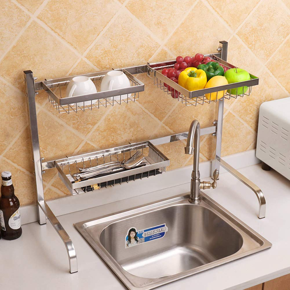 304 Stainless Steel Sink Dish Drain Rack, Kitchen Vegetable Rack Double-Layer Tool Holder Cutting Board Storage Rack, Suitable for Restaurant Hotel by Kitchen shelf