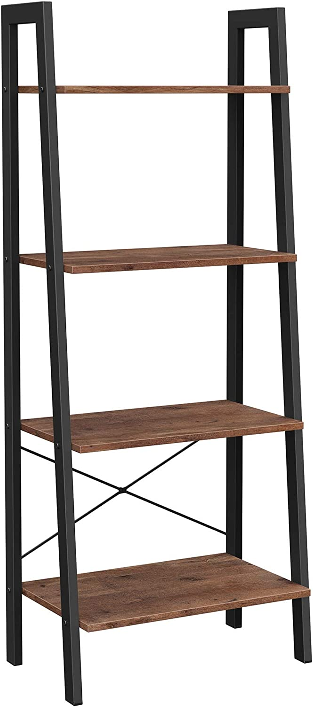 VASAGLE ALINRU Ladder Shelf, 4-Tier Bookshelf, Storage Rack Shelves, Bathroom, Living Room, Industrial Accent Furniture, Steel Frame, Hazelnut Brown and Black ULLS044B03