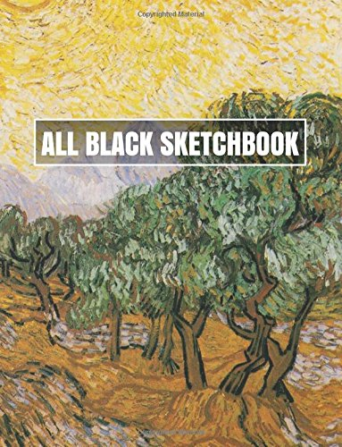 All Black Sketchbook: Olive Trees with Yellow Sky and Sun  (Journal, Diary) 8.5 x 11, 100 Pages
