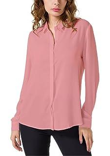 d56dacbb7b813 Double Plus Open DPO Women s Chiffon Casual Button Up Shirt Long Sleeve  Loose Cuffed Blouse