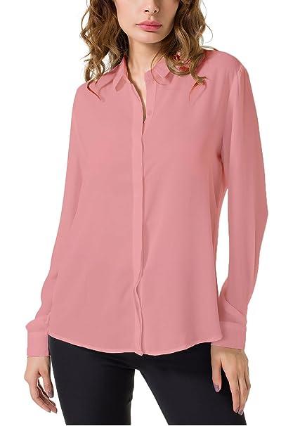 36337786f64 Double Plus Open Women s Chiffon Casual Button Up Shirt Long Sleeve Loose  Cuffed Blouse Pink 0