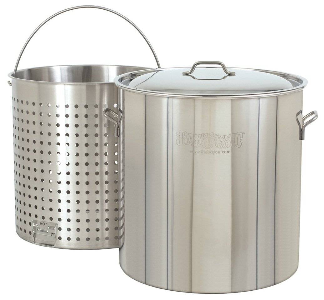 Bayou Classic 1182, 82-qt Stainless Steel Stockpot with Perforated Basket (Renewed)