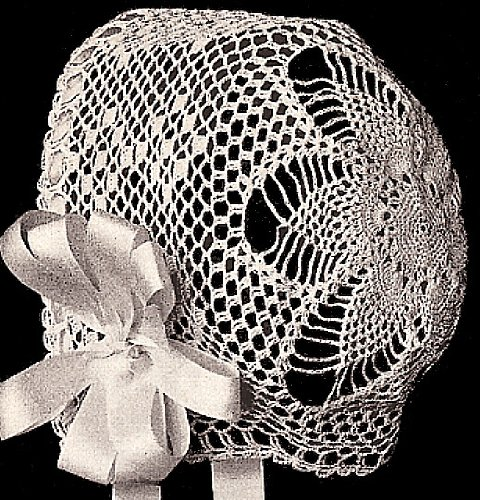 Vintage Crochet PATTERN to make - Antique Baby Bonnet Hat Cap Pineapple Star Design 1915. NOT a finished item. This is a pattern and/or instructions to make the item only.