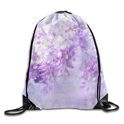 a9709615f057c Image Unavailable. Image not available for. Color  Blue Rain Wisteria  Flowers Tree Print Drawstring Backpack Rucksack ...