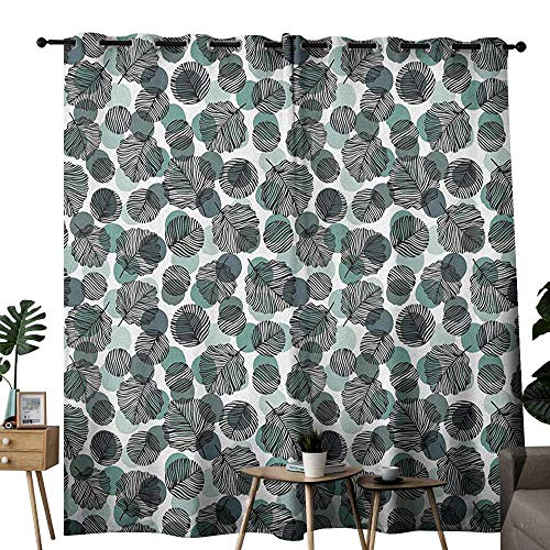 (duommhome Leaves Durable Curtain Dotted Background with Foliage Pattern with Black Stripes Nature Darkening and Thermal Insulating W108 x L96 Slate Blue Pale Green Black)