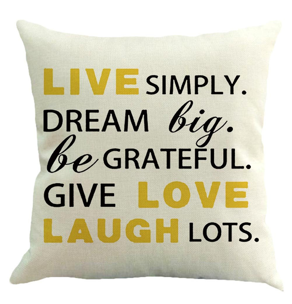BIBITIME Pack of 6 PCS Happy Pillow Cover Protector 18 x 18 inches Throw Back Waist Cushion Case Square Pillowcases for Sofa Couch Decor Quotes You Believe Dream Live Love Laugh