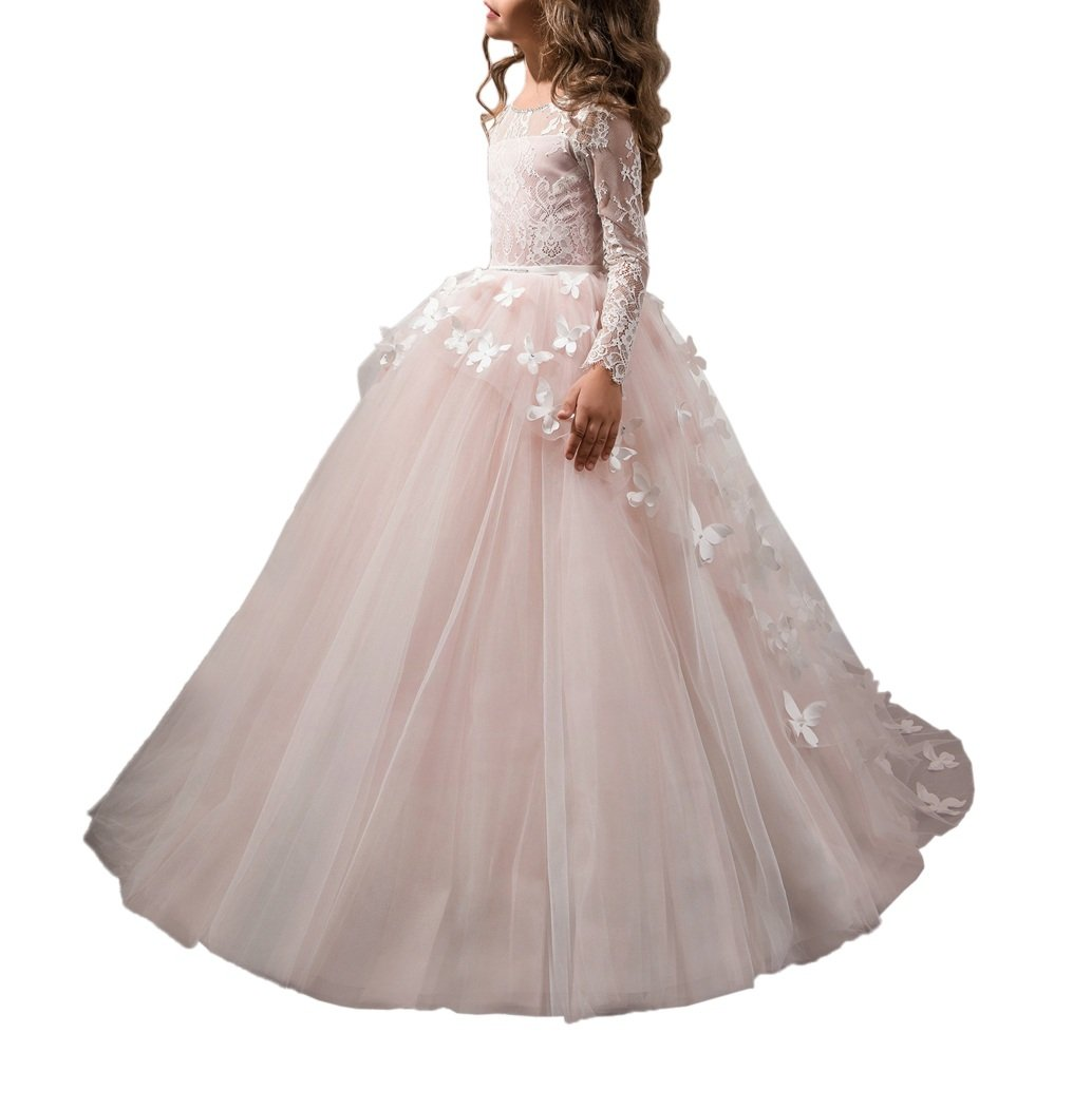 Carat Lace Lovely First Communion Girl Prom Long Sleeves Dresses Pink Size 8