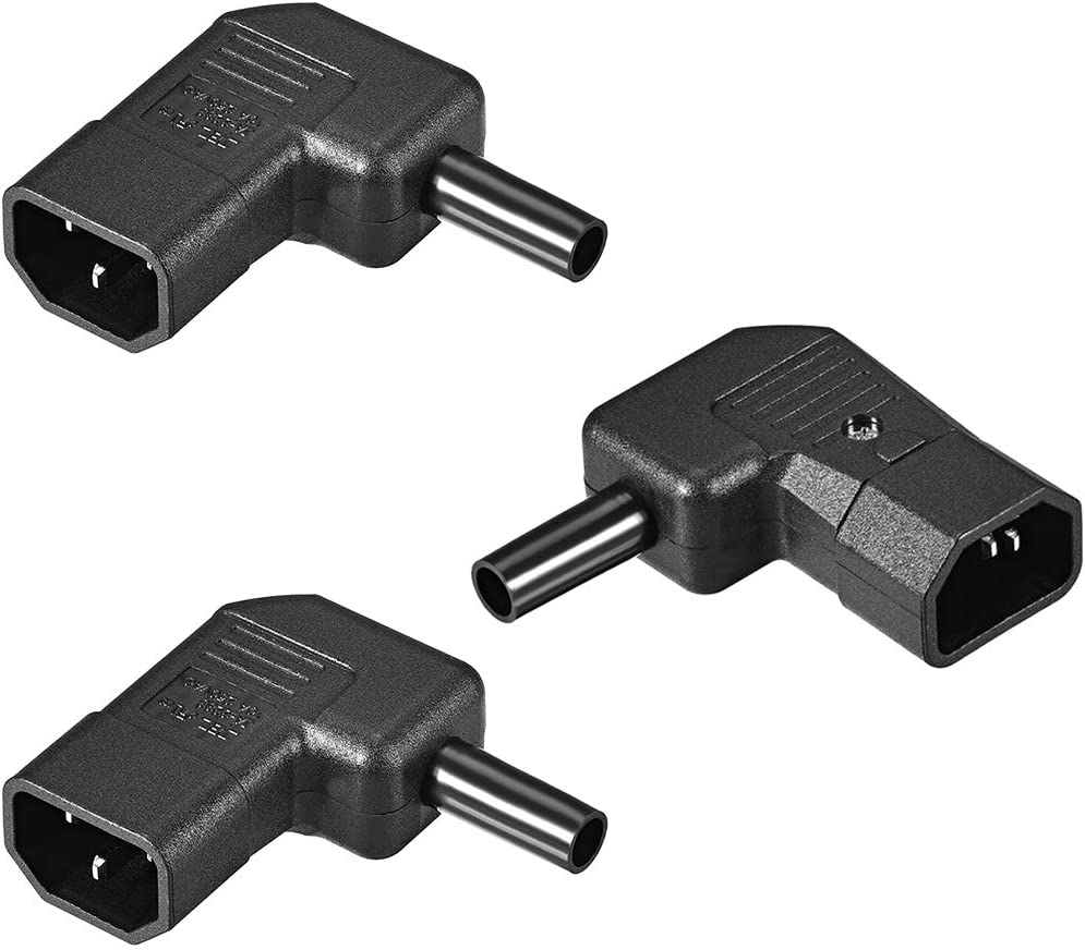 uxcell AC110-250V 10A Male IEC320 C14 Power Socket Adapter Receptacle Connector Right Angle 3 Pcs