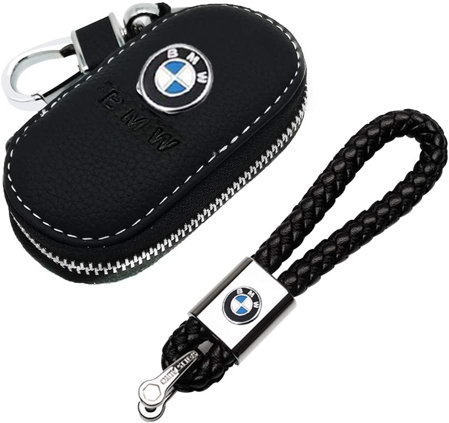 VILLSION 2Pack Genuine Leather Car Logo Key Chain Holder with Leather Car Key Case for Chevrolet