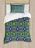 Arabian Decor Duvet Cover Set by Ambesonne, Ornate Arabic Ethnic Mosaic Oriental Eastern Patterns with Damask Tribal Art, 2 Piece Bedding Set with Pillow Sham, Twin / Twin XL, Yellow Green Teal