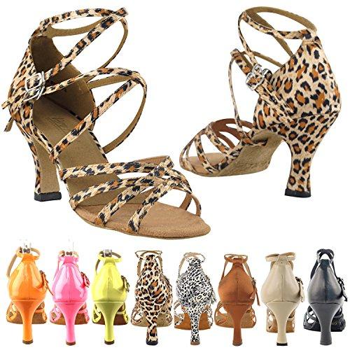 50 Nuances 5008 Confort Robe De Soirée Sandales À Pompe, Chaussures De Danse De Salon Pour Femmes (talons Hauts De 2,5, 3 Et 3,5) Léopard Satiné