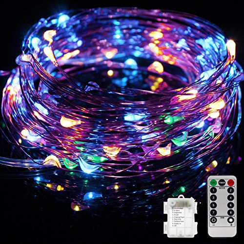 TIGERNU Copper String Light 100 LED/33 FT/Multi-Color Waterproof Decorate for Outdoor/Bedroom/Patio Christmas/Festival/Wedding/Birthday/Party with RF Remote Control