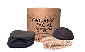 Reusable Makeup Bamboo Charcoal Remover Rounds (10 pack) With Cleansing Konjac Sponge I Laundry-Bag & Free Storage Box for Makeup Remover Pads I Organic Facial Cleansing Kit I Zero Waste I