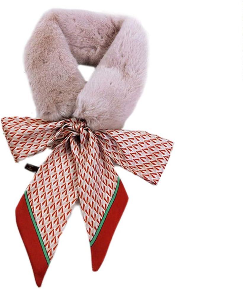 RROVE Donna Ragazza Addensare Collo in Pelliccia Sintetica Sciarpa in Nastro Scialle Scaldacollo Scaldacollo