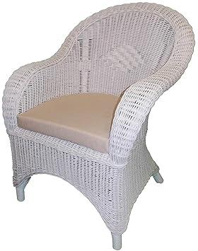 Silla de mimbre, color blanco con almohadilla de asiento ...