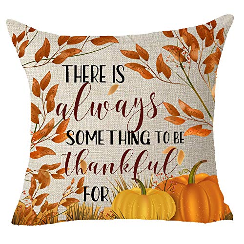 FELENIW Happy Fall Y'all Tree Fall Leaves Harvest Pumpkins There is Always Something to Be Thankful for Throw Pillow Cover Cushion Case Cotton Linen Material Decorative 18x18 inches