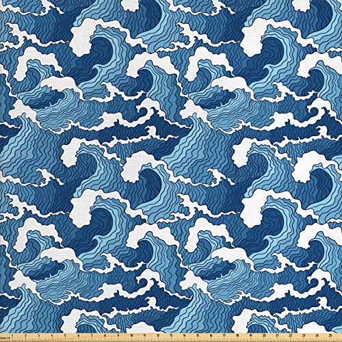 - Lunarable Japanese Wave Fabric by The Yard, Stormy Sea with Abstract Chinese Ethnic Folk Art Influences, Decorative Fabric for Upholstery and Home Accents, 2 Yards, Pale Blue Dark Blue White