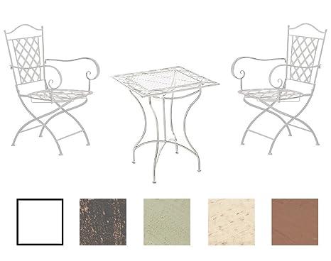 CLP Conjunto de Jardín Payo de Hierro Galvanizado I Juego de Mesa y 2 Sillas de Terraza I Mesa Ø 60 y 2 Sillas con Reposabrazos I Color: Blanco ...