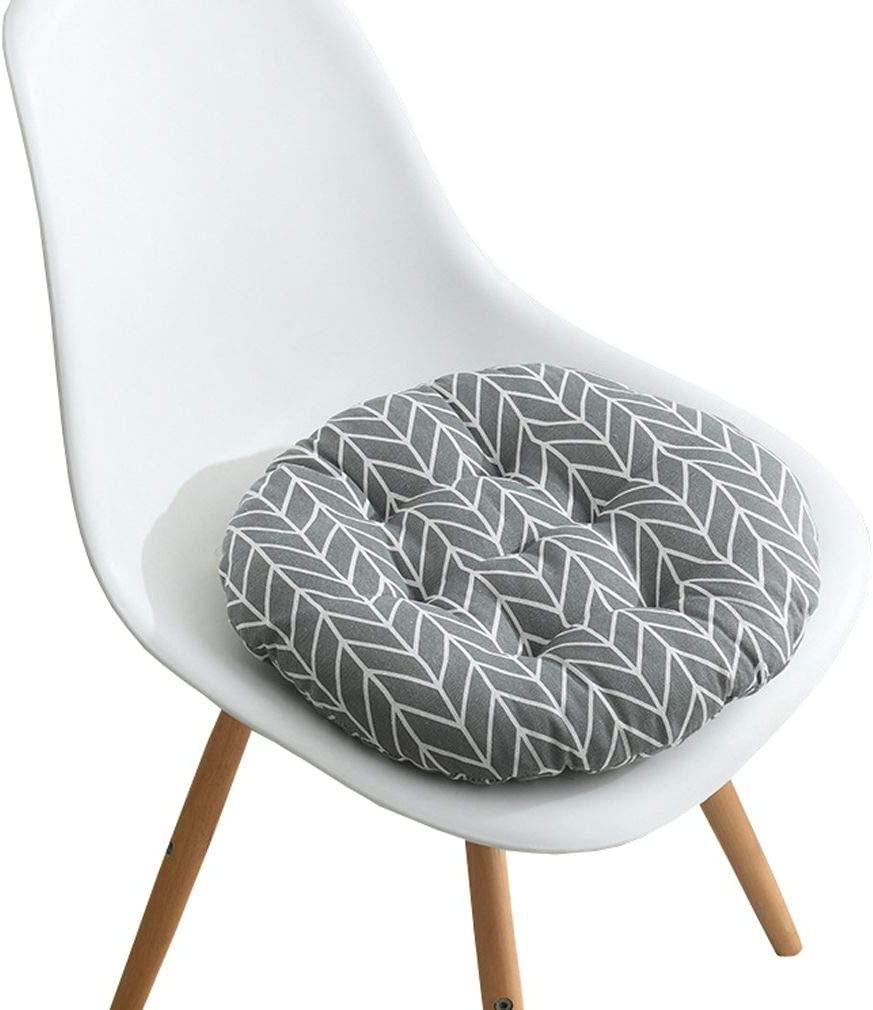 JK Home Soft and Comfortable Round Chair Pad Seat Cushion for Dining Living Room Office Chairs Gray Arrow 40x40cm