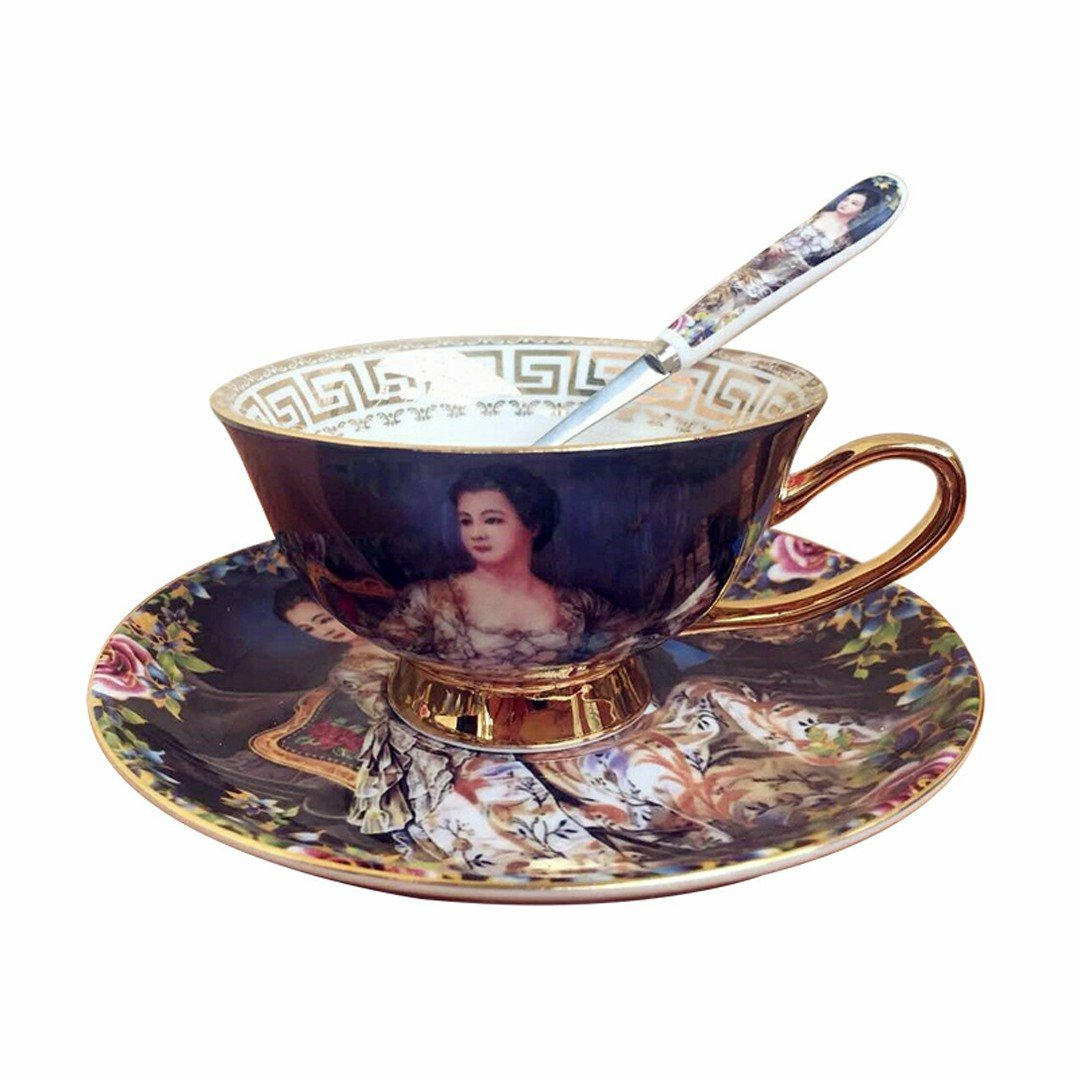 LYX Royal AlbertCoffee Bar Cappuccino Cups Ceramic Tea Cup Coffee Cup Cup and Saucer Bone China Ceramic (Queen blue)