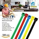 Nylon Cable Ties, Mekov, 8 Inch Heavy Duty Cable Ties, 50-LB Tensile Strength, Zip Ties with 0.19 Inch Width, Durable, Indoor & Outdoor use, UV Resistant (8'', 500 Pack, Five Colors)