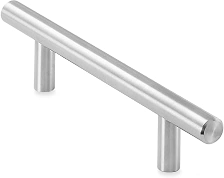 Cauldham Solid Stainless Steel Euro Style Cabinet Pull Handle Brushed Nickel Design 3 3 4 96mm Hole Centers Pack Of 10 Amazon Com