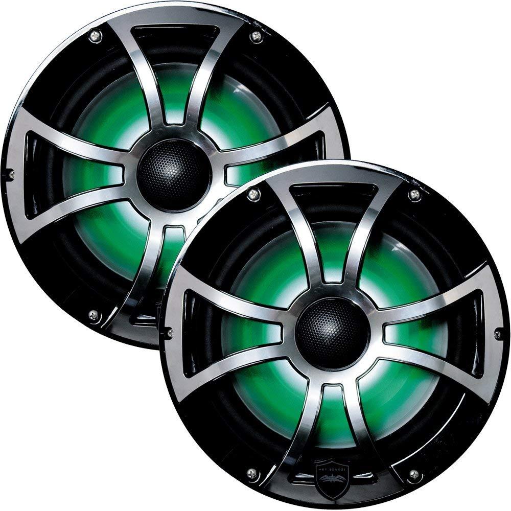 Wet Sounds REVO 8-XSB-SS ブラック XS/ステンレスオーバーレイグリル 8インチ マリンLEDスピーカー(ペア) (認定整備済) B07N8HSMWJ