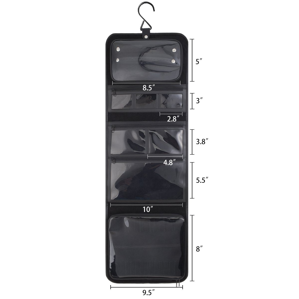 keproch Jewelry Accessories Portable&Fold-able Closet Hanging Storage Organizer with 8 Transparent Pocket Holders (Small, Black)