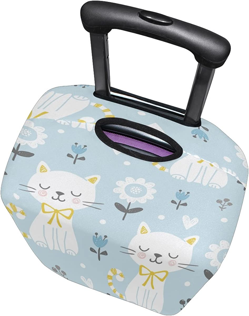 GIOVANIOR White Cats Flowers Luggage Cover Suitcase Protector Carry On Covers
