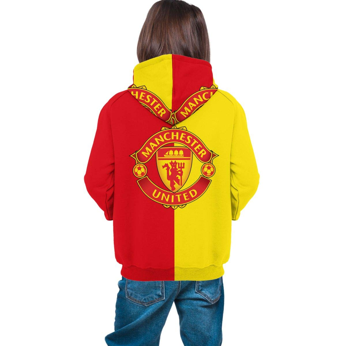 Boys Girl Real Madrid Manchester United Juventus Novelty 3D Print Hooded Hoodies