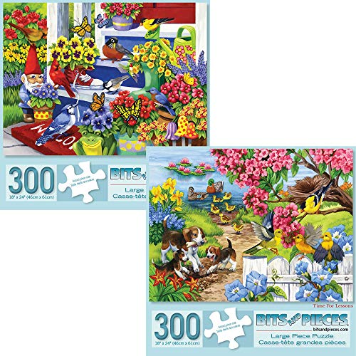 Bits and Pieces - Set of Two (2) 300 Piece Jigsaw Puzzles for Adults - Each Puzzle Measures 18