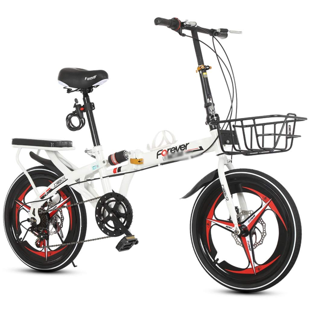 子供折りたたみ自転車 アウトドア旅行自転車 学生スピードマウンテンバイク アウトドアレーシングバギー 16インチ20インチシフトディスクブレーキ自転車 (Color : 白, Size : 20inches) 20inches 白 B07RJY11GL