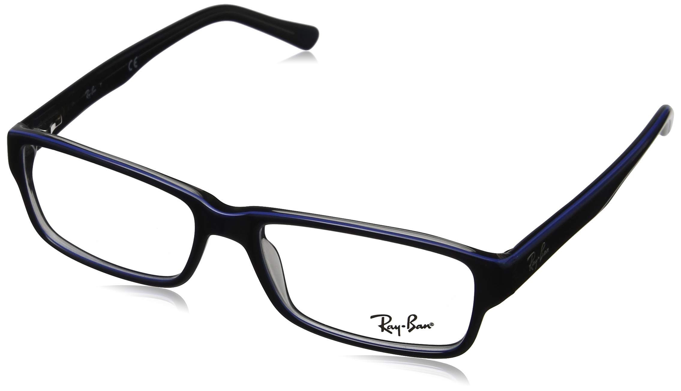 Ray-Ban RX5169 Rectangular Eyeglass Frames, Blue on Grey/Demo Lens, 54 mm