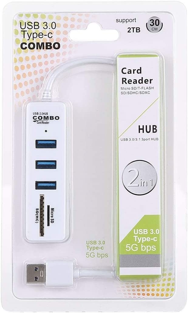 2 in 1 TF//SD Card Reader Black 3 x USB 3.0 Ports to USB 3.0 HUB Converter LTOnlineStore Cable Length: 26cm Color : White
