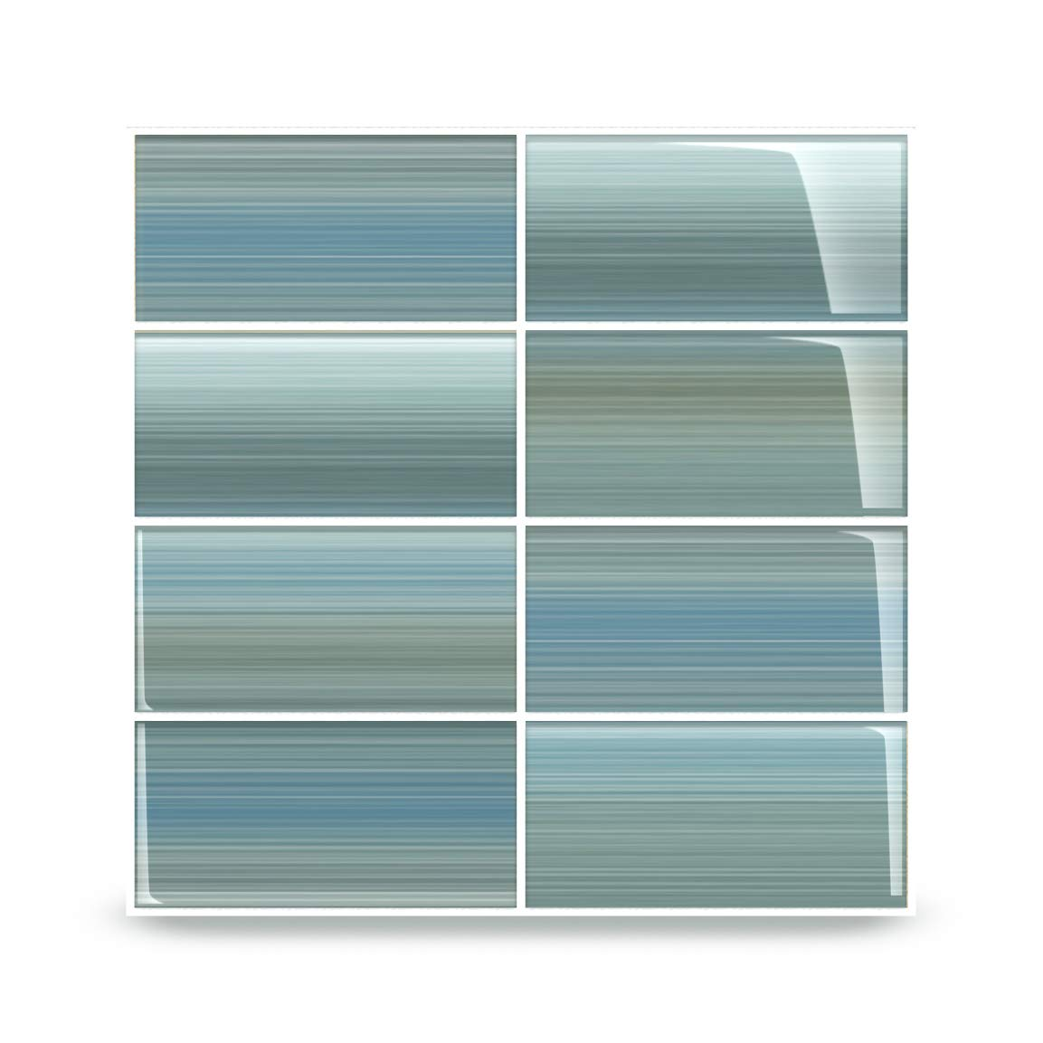 Bodesi Wintermoss Glass Subway Tile for Kitchen Backsplash or Bathroom, 3x6