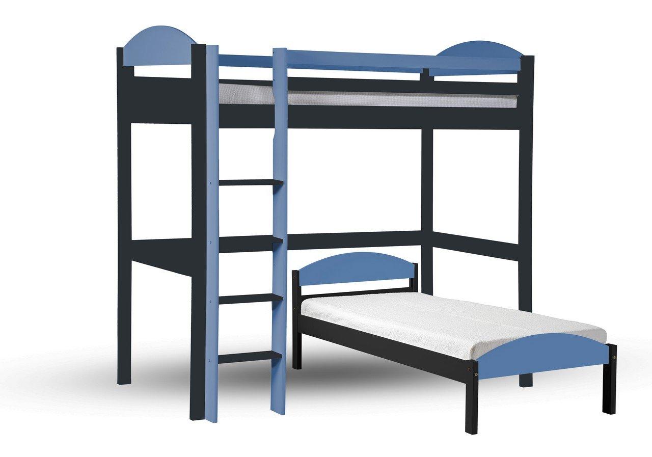 Hochbett L Form : Design vicenza maximus l form hochbett graphit mit baby blau
