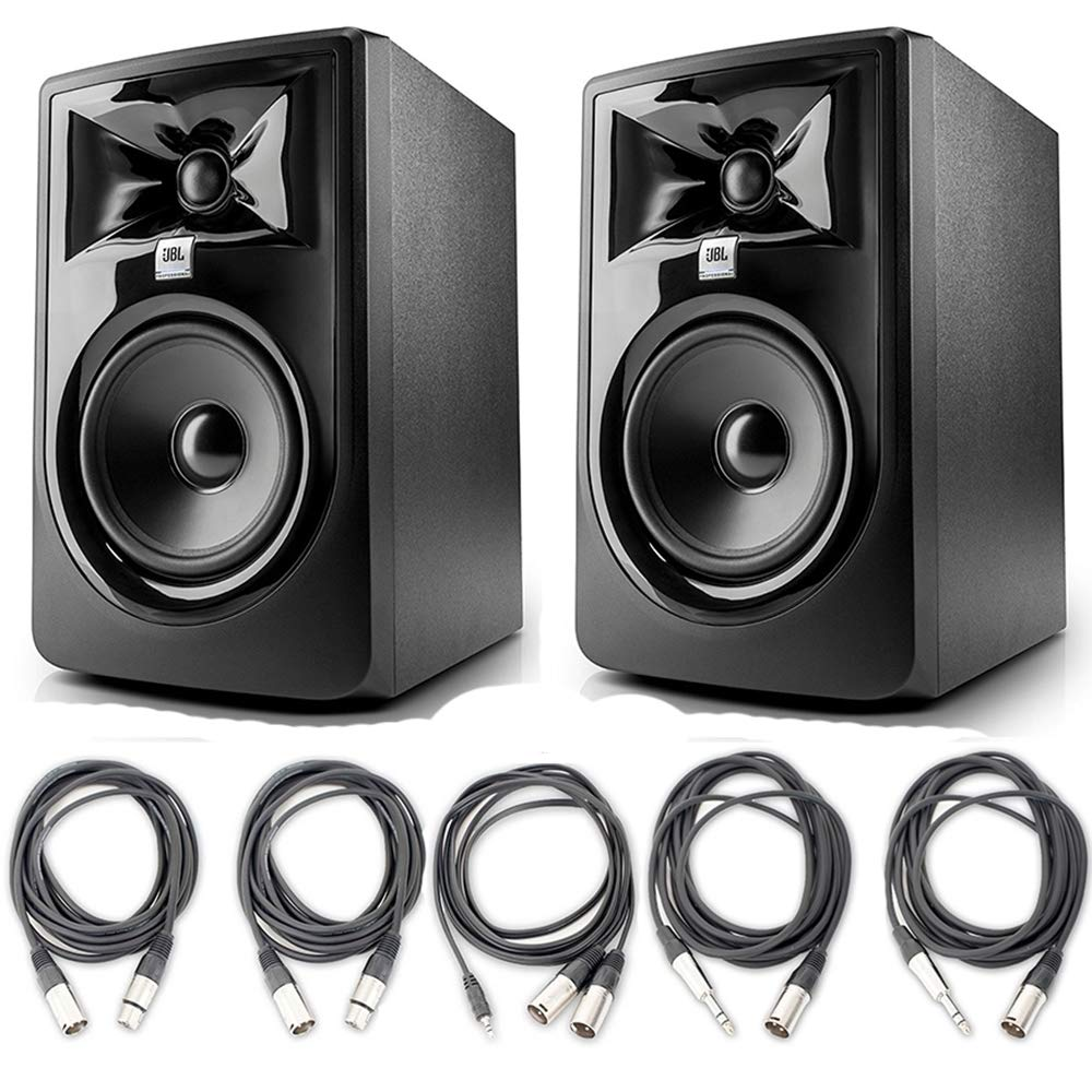 JBL 305P MkII 5'' Studio Monitoring Speakers (Pair) w/ 5 Essential AxcessAbles Studio Cables for Recording Studio