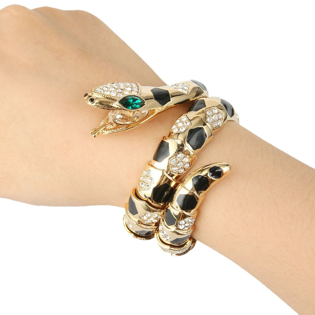 Vintage Style Jewelry, Retro Jewelry EVER FAITH Austrian Crystal Enamel Art Deco Snake Bangle Bracelet $21.79 AT vintagedancer.com