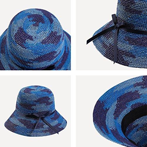 Playa Sol color Azul Hembra El Para Ancha Quitasol 2 Colores De Ala Gorra Verano Paja Sombrero Haipeng Variados Brown wpPSqnaE