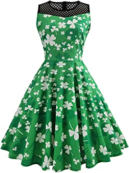 Urisgo sukienka na ramię, damska sukienka w stylu vintage, liść koniczyny, koronkowa, do kolan: Küche & Haushalt