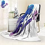 AmaPark Super Soft Lightweight Blanket Teen Silhouette with on Her Hair Ornaments Meditation Blue Oversized Travel Throw Cover Blanket