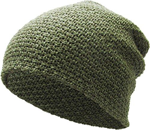 KBETHOS KBW-251 OLV Waffle Knit Slouchy Beanie Baggy Style Skull Cap Winter Unisex Ski Hat Style Skull Cap